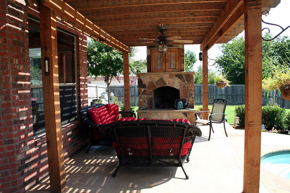 800 Cedar Pergola With Fireplace Television Cubby