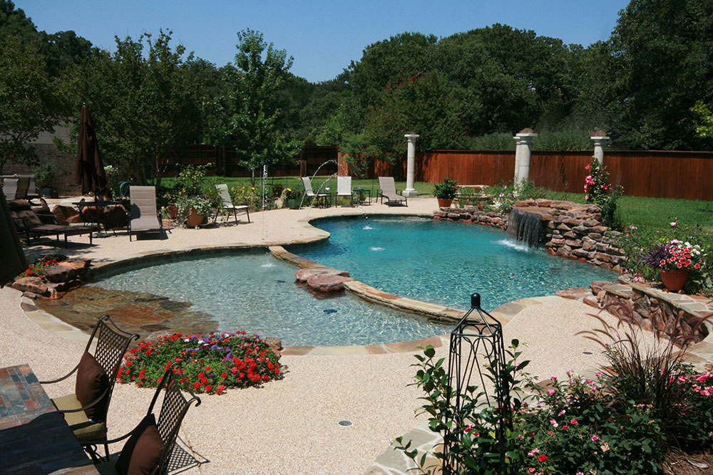 Free Form Pool With Kiddie Pool, Rock Beach Entry, Grotto, Rock Waterfall,