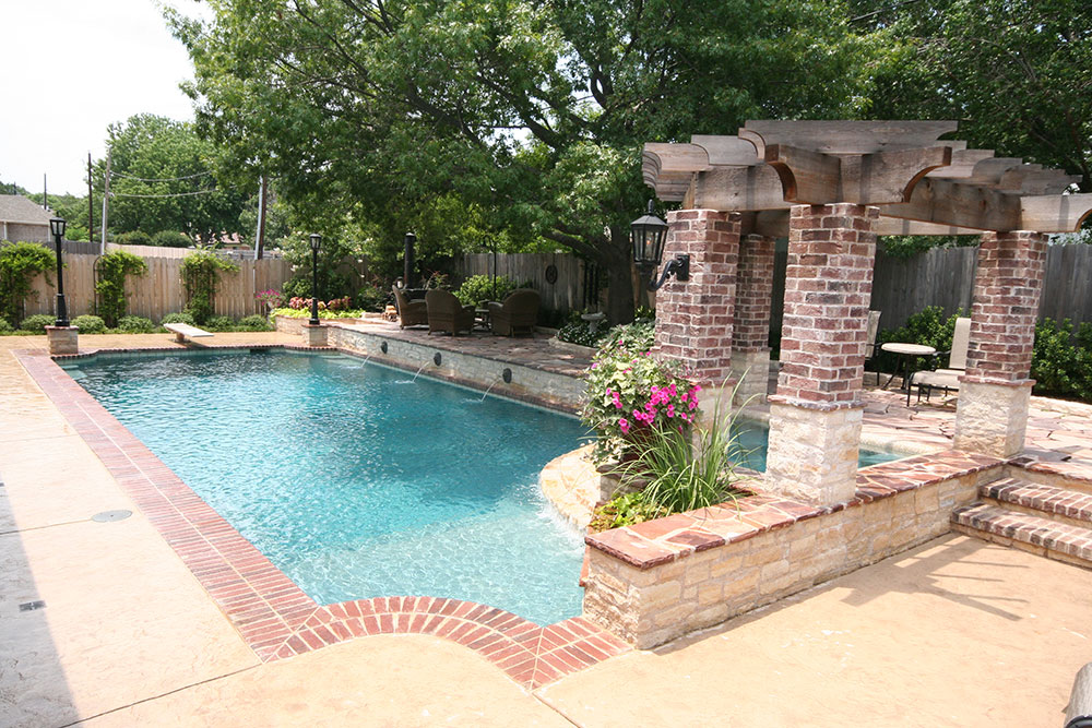 Traditional Pool Attached Spa With Pergola Rounded Tile Ledge And Angled Overflow Sheer