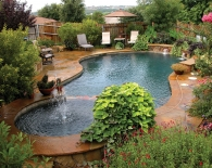 Free Form Pool with Flagstone Decking, Water feature with Sheer Descents, Rock Planters, Wet Edge Plaster, Zodiac Equipment