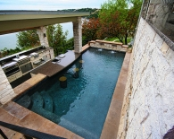 Traditional Pool; Three Levels, Outdoor Kitchen, Bar Stools, Flagstone Coping, Oreq Fountains, We Edge Plaster, Zodiac Equipment