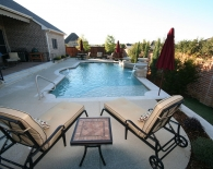 Traditional Pool; Wok Bowls, Sundek, Interfab Handrail, Wet Edge Plaster, Oreq Sheer Fountains, Zodiac & Polaris Equipment