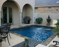 Traditional Pool; Multi-Colored Flagstone, Water Columns with Fountains, Sundek Decking, Dunn Rite Basketball Game, Wet Edge Plaster, Zodiac & Polaris Equipment