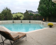 Traditional Pool and Spa; Glass Tile Fire Bowl, Oreq Fountains, Wet Edge Plaster, Zodiac & Polaris Equipment