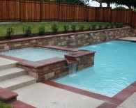 Traditional Pool and Spa; Colorado Red Coping, Multicolor Arizona Stone in Raised Areas, Oreq Fountains, Outdoor Kitchen, Sundek, White Plaster, Zodiac & Polaris Equipment