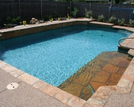 Traditional Pool; Flagstone Tanning Ledge, Aggregate Decking, White Plaster, Zodiac & Polaris Equipment