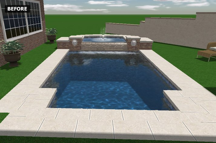 before - Rectangle Pool With Water Feature