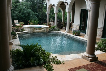 #204  Traditional Pool with Radius Spa, Step Down Overflow, Granbury Coping, Salt Deck, Pebble Plaster, Zodiac Equipment